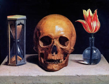 Philippe De Champaigne Vanitas Still Life With A Tulip Skull And Hour Glass Fine Art Copy