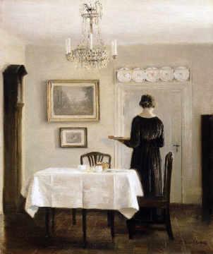 Carl holsoe interior with lady carrying tray for Interior auf deutsch