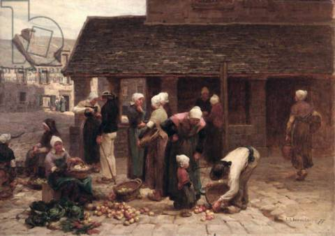 Fine Art Reproduction: L�on-Augustin Lhermitte, The Market Place of Ploudalmezeau, Brittany, 1877