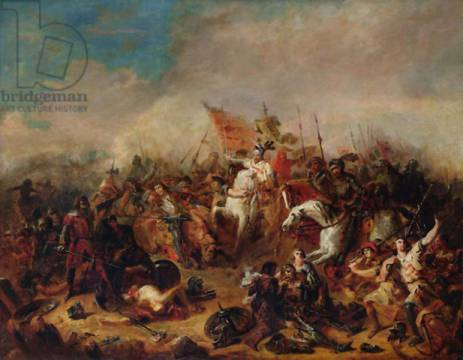 The Battle of Hastings in 1066 of artist Francois Hippolyte Debon, Harold,