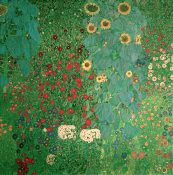 gustav klimt bauerngarten mit sonnenblumen digitaler kunstdruck individuelle kunstkarte. Black Bedroom Furniture Sets. Home Design Ideas