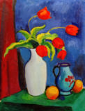 Rote Tulpen in wei�er Vase of August Macke