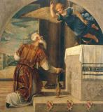 The Archangel Gabriel announces the birth of John the Baptist to Zechariah of Bonifazio Veronese