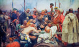 The Zaporozhye Cossacks writing a mocking letter to the Turkish sultan Mehmet IV of Ilya Efimovich Repin